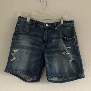 Zara Basics Denim Distressed Shorts Sz 12